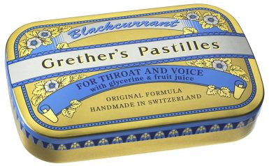 Grether's Pastilles for Throat and Voide Handmade in Switzerland Blackcurrant