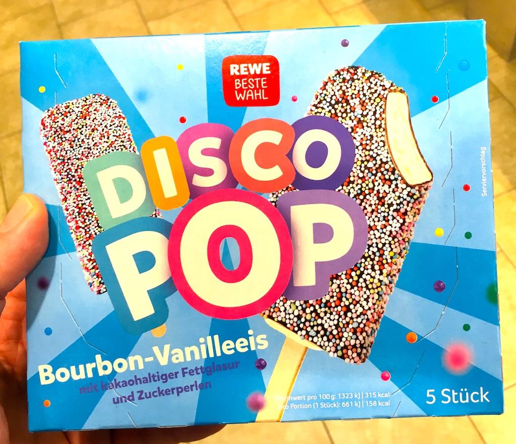 REWE Beste Wahl Disco Pop Bourbon-Vanilleeis mit Fettglasur und zuckerperlen 5 Stück