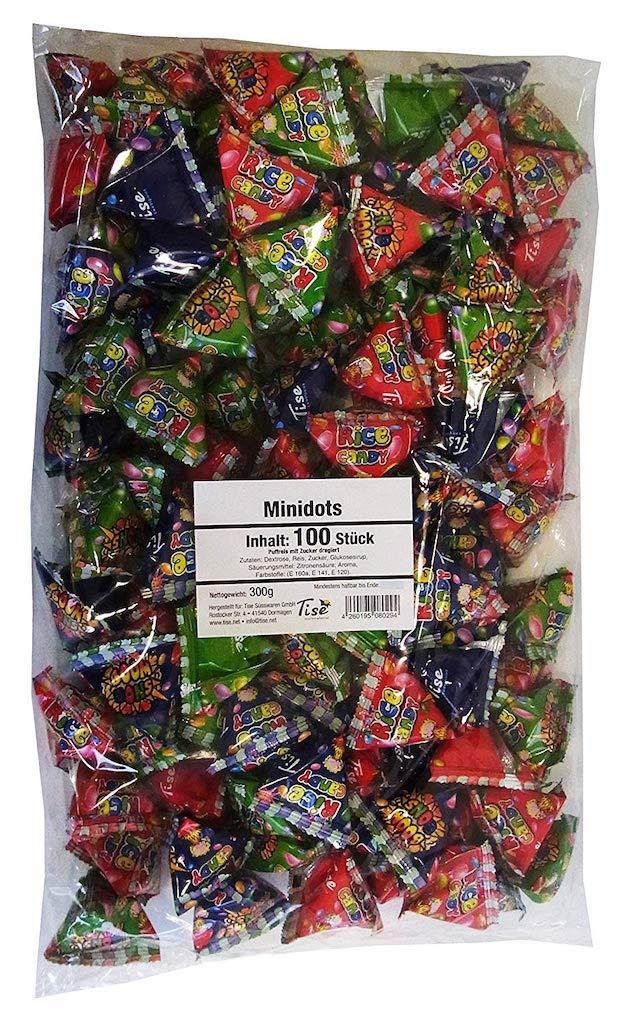 Tise Minidots 100 Stück – 300 Gramm Puffreis mit Zucker dragiert Wurfmaterial