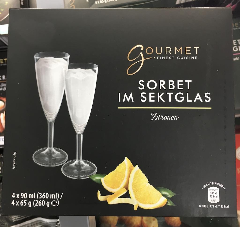 Aldi Gourmet FinestCuisine Sorbet im Sektglas Zitrone 360ml