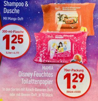 Mamia Disney Feuchtes Toilettenpapier mit Kirsch-Bananen-Duft oder Beeren-Duft 70 Stück