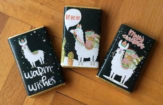 Mini-Schokolade mit Lama Weihnachten-Motiven