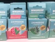 Wingbrush Zahnseide mit Aktivkohle und Xylit Geschmack Wassermleone-Minze und Eukalyptus-Minze