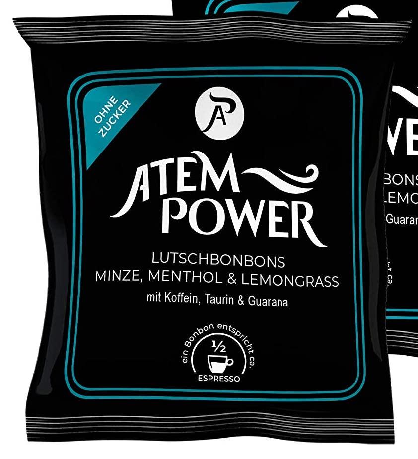 Atempower Lutschbonbons Minze-Menthol-Lemongrass mit Koffein-Taurin-Guarana