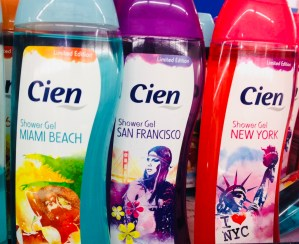 Bei den Duschgels von Cien geht es mir nicht um die süßen Geschmacksrichtungen, sondern um die originelle Benamungen nach Orten: Miami Beach, San Francisco und New York.