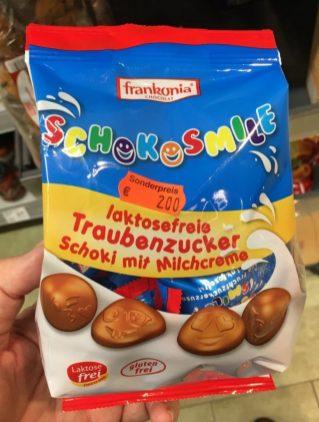 Frankonia Schokosmile Laktosefreie Traubenzucker Scoki mit Milchcreme