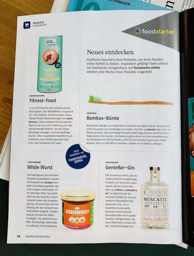 Handelsrundschau der EDEKA mit Neuprodukten von Foodstarter