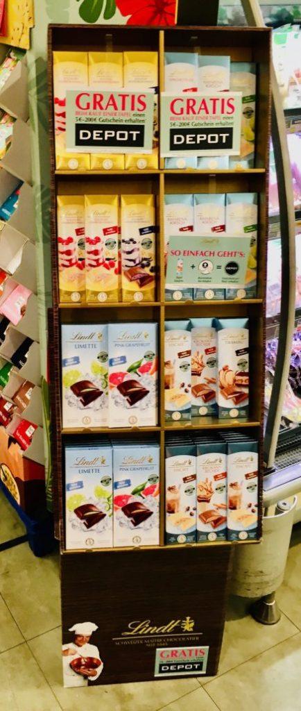 Lindt POS-Display Sommerschokoladen mit 5€-Depot-Gutschein
