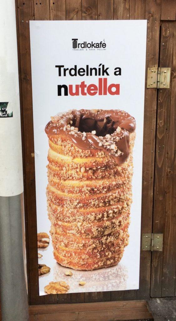 Nutella-Kuchen Plakat in Tschechien