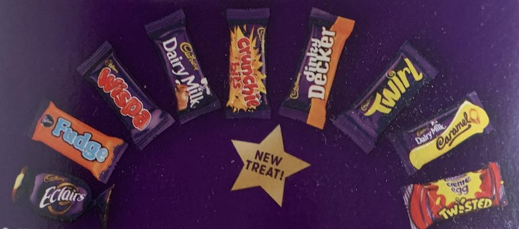 Cadbury Eclairs-Fudge-Wispa-Dairy Milk-Crunchie bits-dinky dcker-Twirl-DAiry Milk Caramel-Creme Egg Twisted