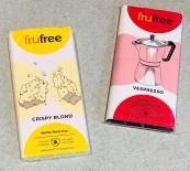 Frufree Crispy Blond Weiße Reiscrisp und Vespresso zartbitter-Kaffeeschokolade ohne Laktose und Fruktose