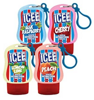 "Icee Hand Sanitizer in den Sorten ""Blue Raspbery"", ""Cherry"", ""Lemon Lime"" und ""Peach""."