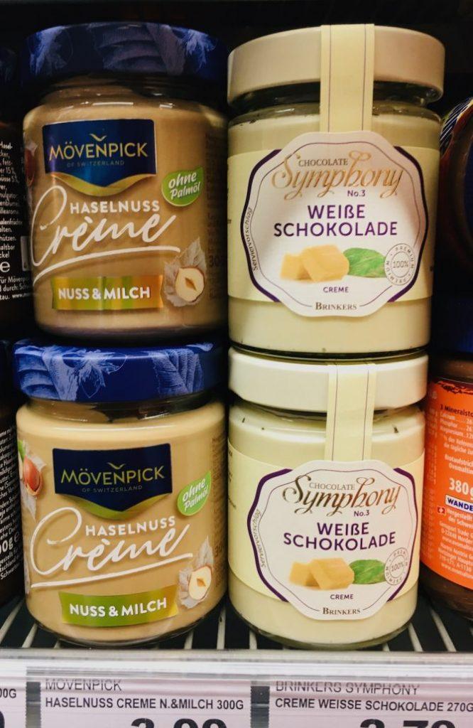 Mövenpick Haselnuss-Creme Nuss+Milch-Chocolate Symphony No1 Weiße Schokolade Brisker