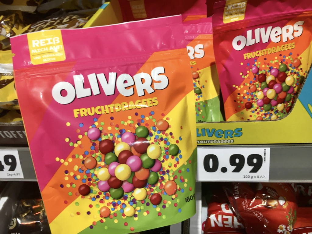 Penny Olivers Fruchtdragees Kaubonbons farbenfroh