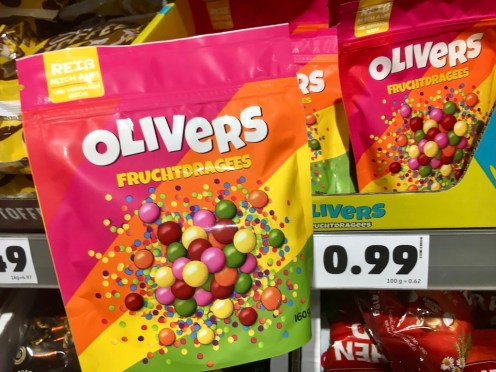 Penny-Eigenmarke Olivers Fruchtdragees Kaubonbons farbenfroh