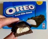Oreo Fresh Milk-Snack im Anschnitt mit Packung
