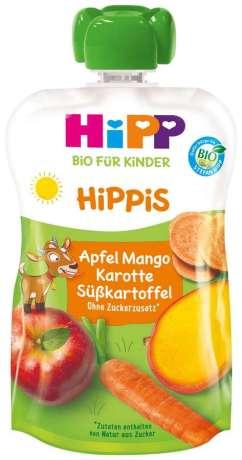 Hipp Bio für Kinder Hippis Apfel-Mango-Karotte-Süßkartoffel Quetschie