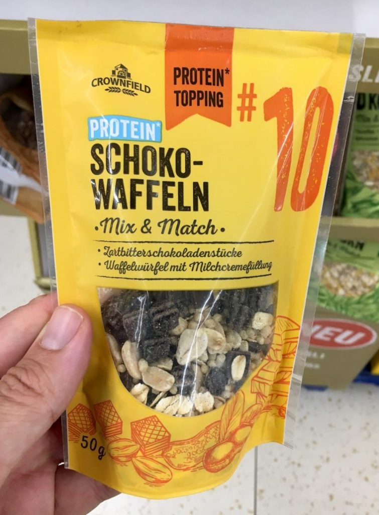 Lidl Crownfield Protein Topping Schoko-Waffeln 50G