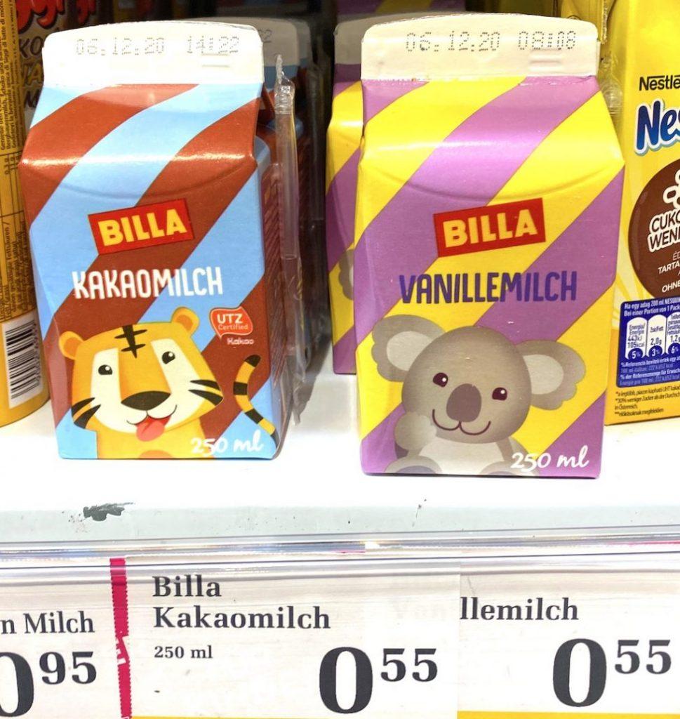 Billa Kakaomilch mit Tiger und Vanillemilch mit Koala