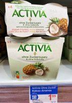 Danone Activia ohne Zuckerzusatz und Süßstoffe Doppelt Früchte Ananas 4er Nutri-Score Österreich