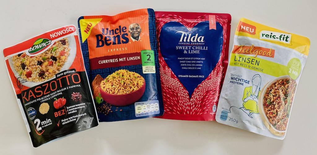Mikrowellen-Reis-Lowicz Kaszotto-Uncle Ben's Curryreis mit Linsen-Tilda Sweet Chilli+Lime Basmati-reis-fit Feelgood Linsen mit Reis und Gemüse