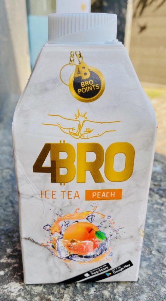 4Bro Bro Points Ice Tea Peach Kartonpackung mit App-Promotion