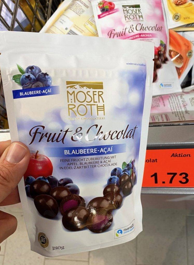 Aldi Moser Roth Fruit+Chocolat Blaubeer-Acai 180G