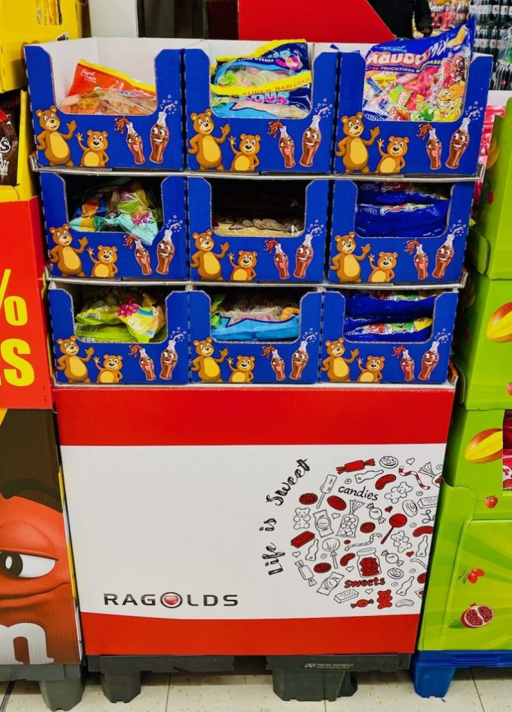Lidl Fruchtgummi und Kaubonbons Bodenaufsteller Ragolds-Unterbau Display
