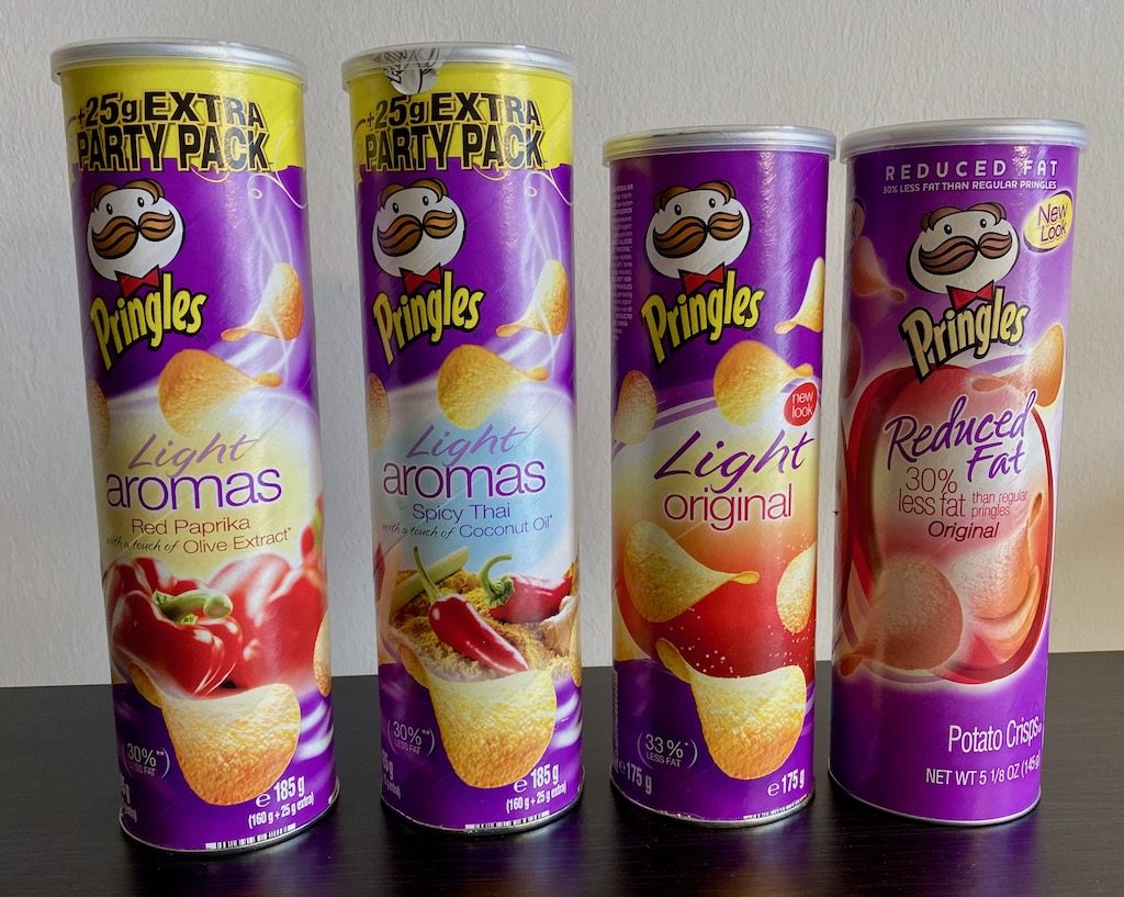 Pringles Light Aromas Red Paprika 185G-Spicy Thai 185G-Light Original 33% weniger Fett 175G-Reduced Fat Original