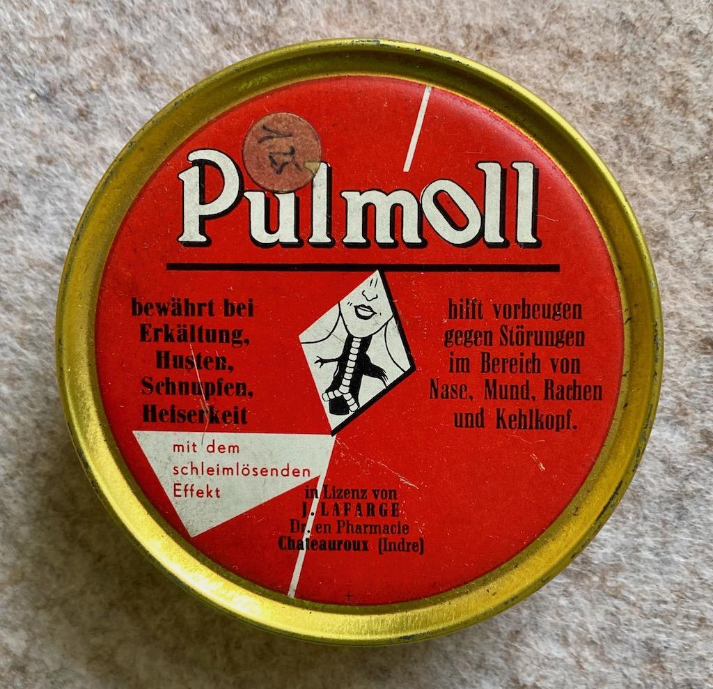 Pulmoll Antike Dose Bewährt bei Erkältung-Husen-Schnupfen-Heiserkeit hilft vorbeugen gegen Störungen im Bereich von Nase-Mund-Rachen-Kehlkopf