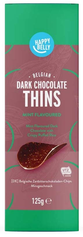 Happy Belly Belgian Dark Chocolate Thins 125G Mint Flovoured