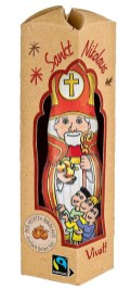 Vivat Gepa Nikolaus - Bischof von Myra - aus fairer Schokolade mit goldenen Äpfeln-drei armen Mädchen-Mitra- Bischofsstab