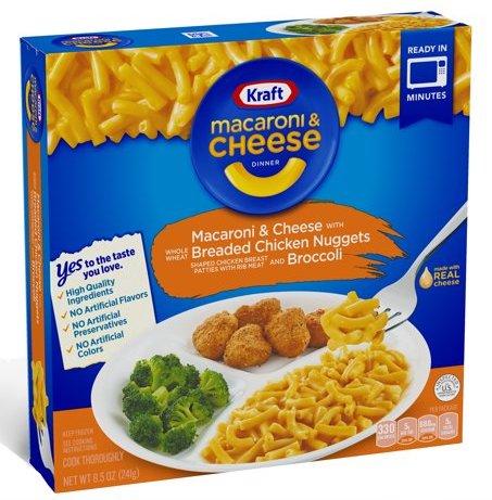 Kraft Macaroni & Cheese Dinner Chicken Nuggets+Broccoli Dish