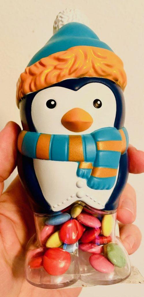 Windel Pinguin-Figur Kunststoff gefüllt mit Schokolinsen