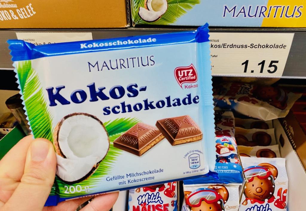Aldi Mauritius Kokosschokolade 200G Gefüllte Milchschokolade mit Kokoscreme