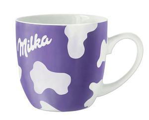 Kakaobecher von Milka mit lila Kuhfleckenmuster