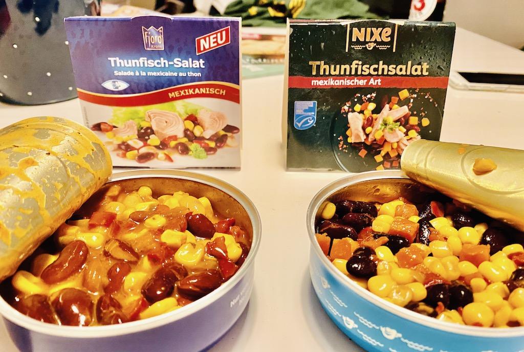Thunfisch-Salate aus der Dose im Vergleich Fjord Mexikanisch versus Nixe