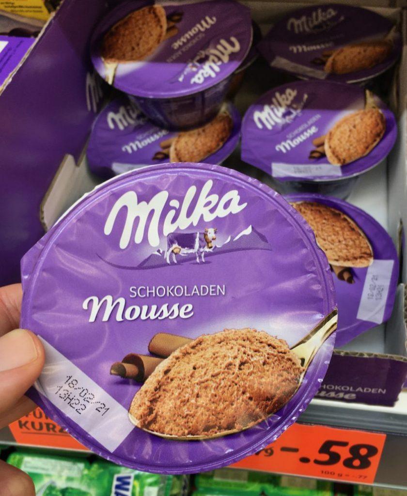 Milka Schokoladen Moussee gekühltes Dessert