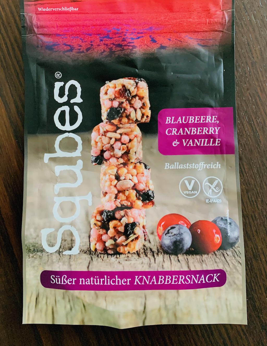 Squbes Süßer natürlicher Knabbersnack Blaubeere-Cranberry-Vanille