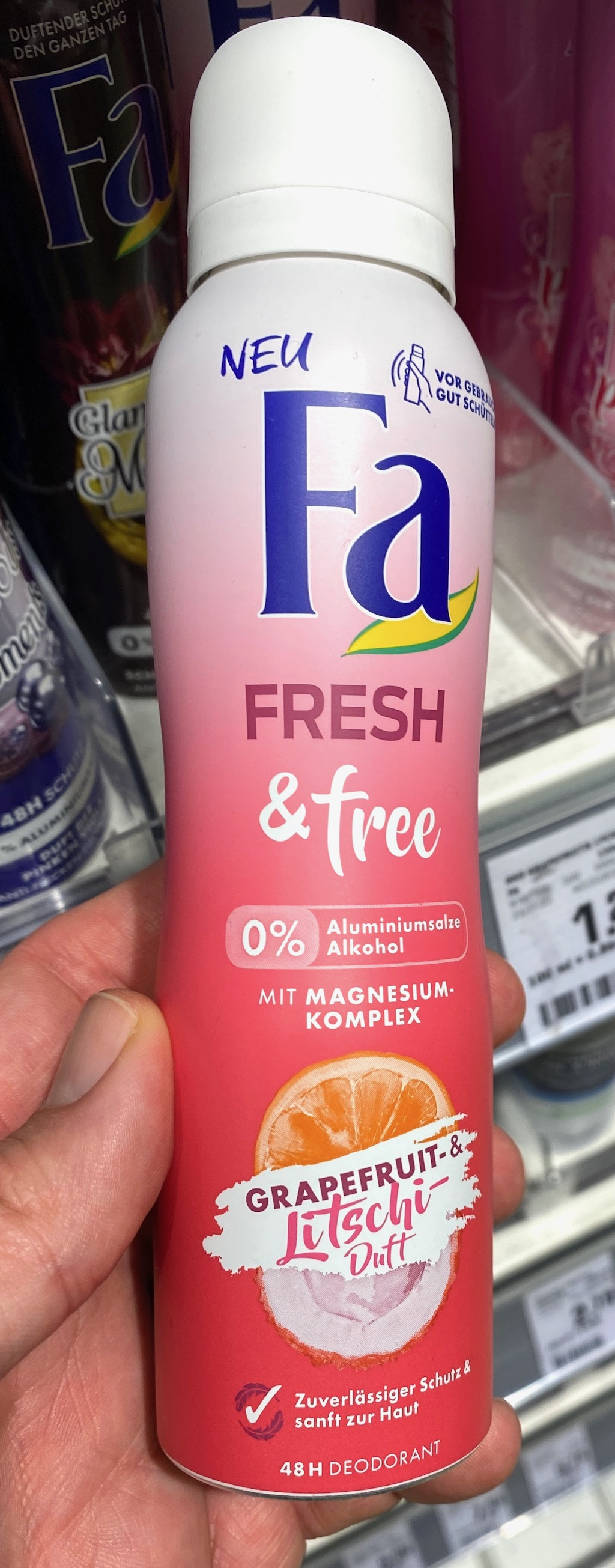 Fa Fresh+free Deodorant Grapefruit+Litschi-Duft