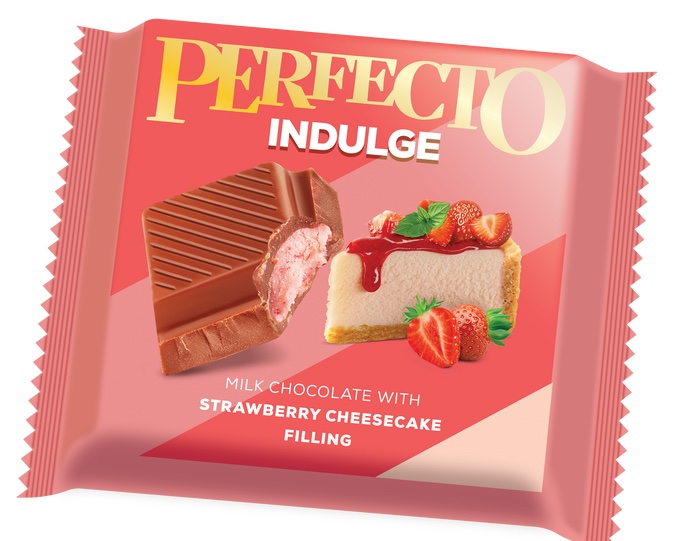 Perfecto Indulge Milchschokolade mit Strawberry Cheesecake-Füllung