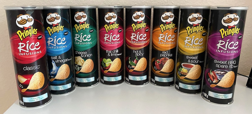 Pringles Rice Infusions Classic-salt+vinegar-cheese+onion-thai chilli+lime-hot+spacy-red paprika-sweet+sour-sweet BBQ+spare ribs 2008