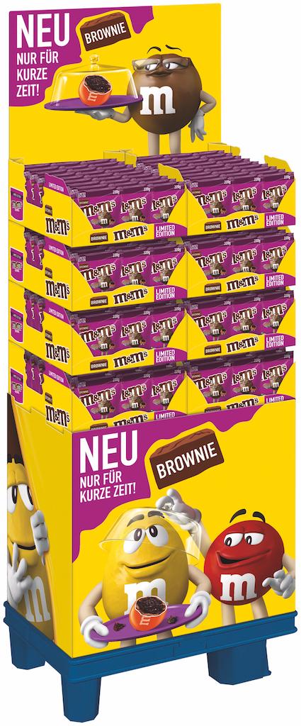 M&M'S® FD 7634 1/4 Europalette mit Sockel 216 Packungen 8x 27 M&M's Brownie 220g