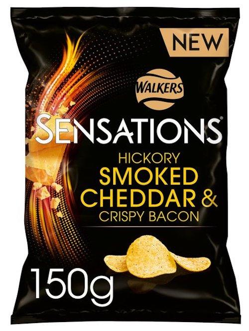 Walkers Sensations Hickory Smoked Cheddar+Crispy Bacon 150g