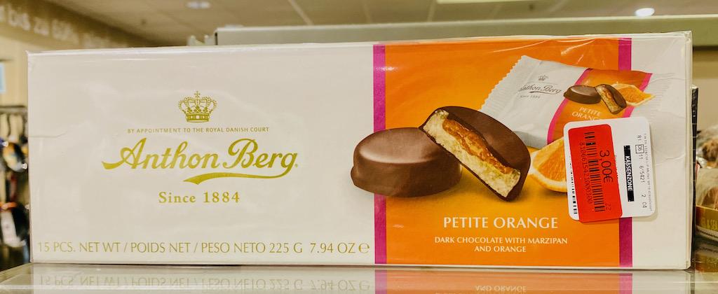 Anthon Berg since 1884 Petite Orange Dark Chocolate with Marzipan and Orange 225G