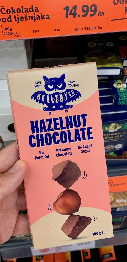 Healthy Co Hazelnut Chocolate Kroatien Lidl 100GFledermausmotiv Ohne Palmöl-ohne Zucker