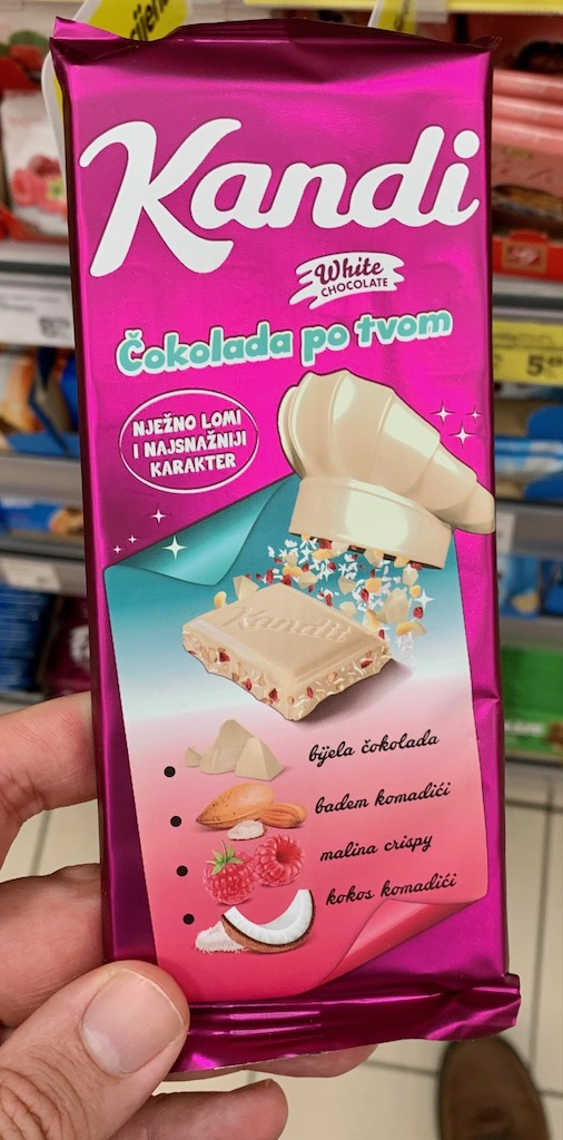 Kandi Weiße Schokolade mit Mandel-Himbeere-Kokos Kroatien
