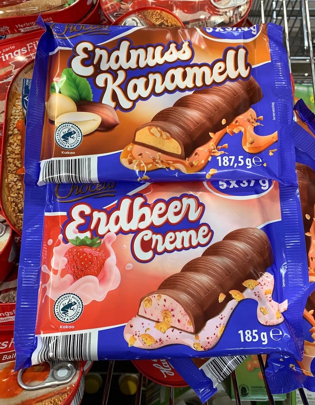 Aldi Choceur Erdnuss Karamell-Erdbeer Creme Riegel Lila Pause 185G