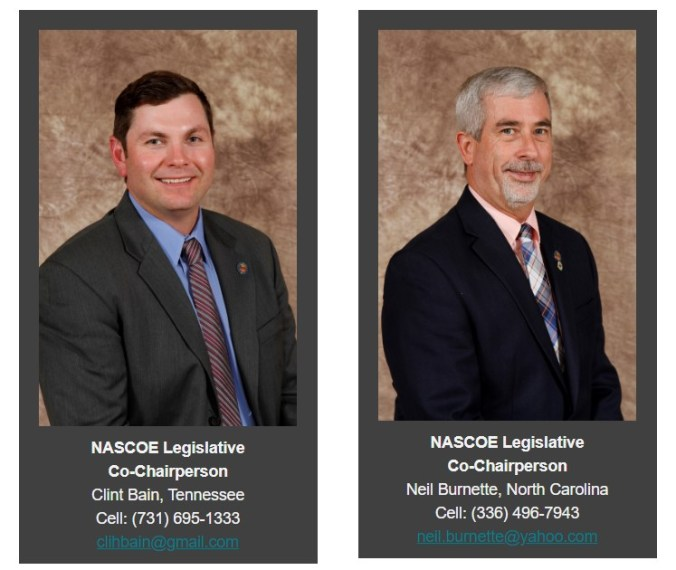 Photos of NASCOE Legislative Co-Chairs Clint Bain and Neil Burnette.