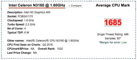 Intel Celeron N3160 Synology DS716+II CPU